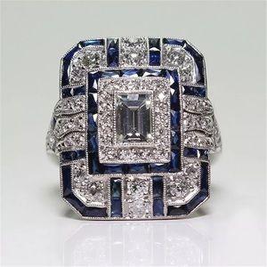 Luxury Silver & Blue Geometric CZ Ring
